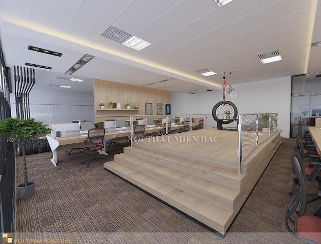 Chiếc bàn làm việc văn phòng được sắp xếp một cách thật khoa học với lối đi lại thuận tiện cũng như mang đến cho không gian sự bắt mắt và ấn tượng hơn bao giờ hế