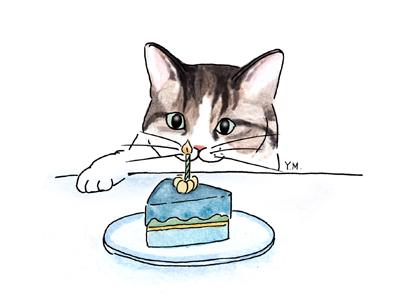 Cat and a birthday cake by Yukié Matsushita