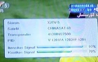 Channel XJTV5 di Chinasat 6a Siarkan Euro 2016 FTA