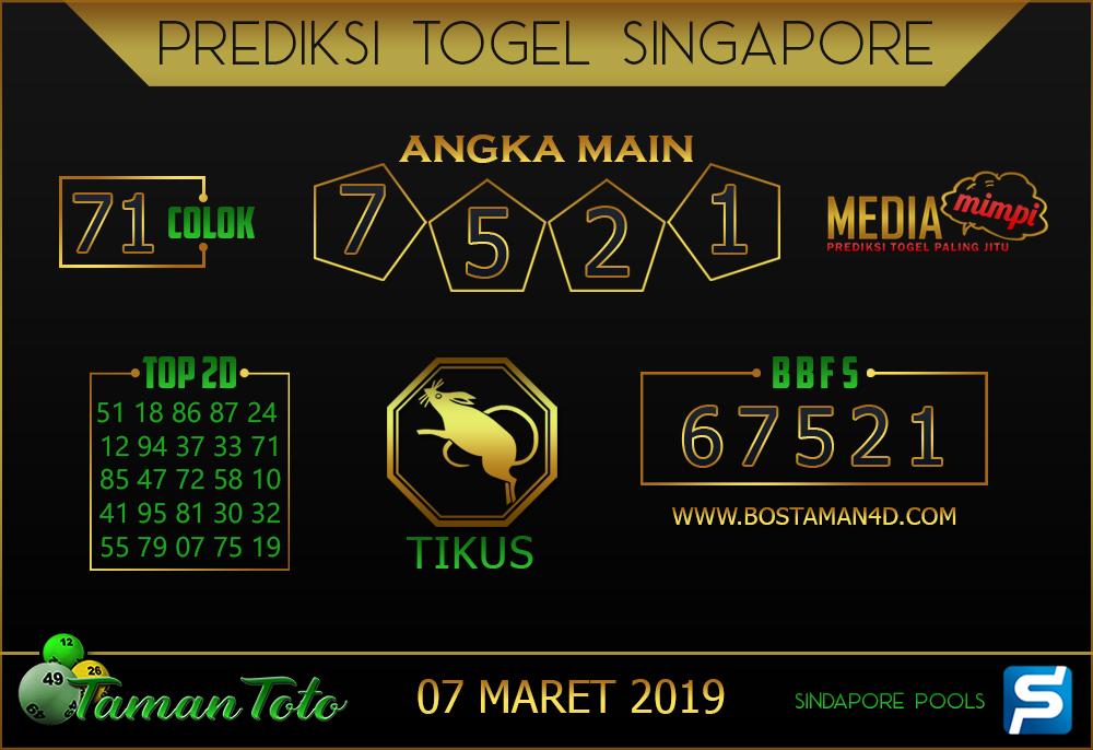 Prediksi Togel SINGAPORE TAMAN TOTO 07 MARET 2019
