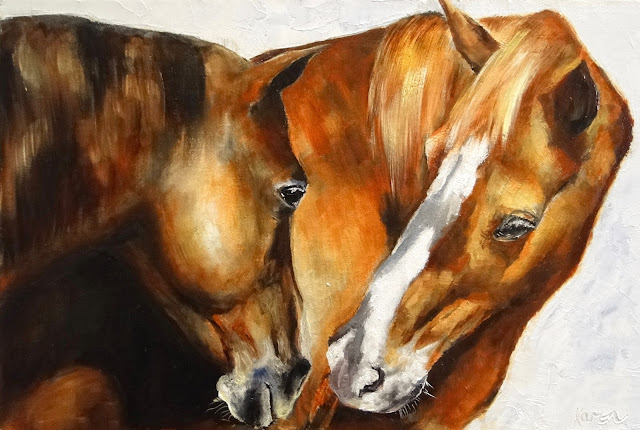 oil painting of two chestnut horses in sunlight