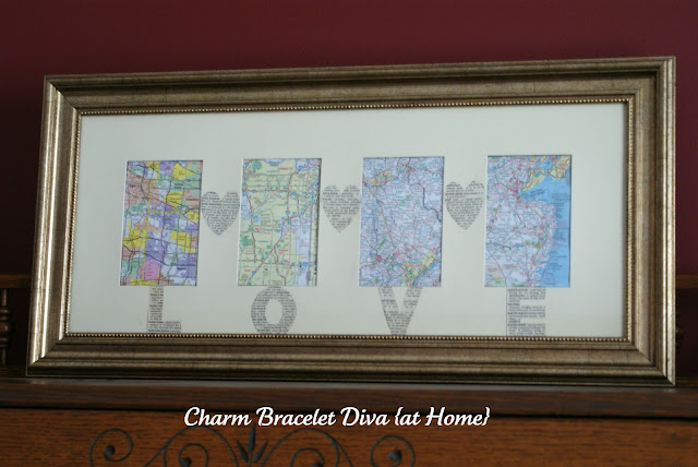 DIY four map wall art