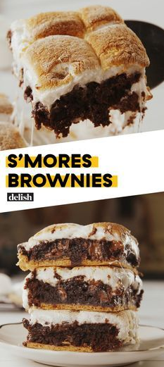 Your two favorite sweets become one in S'mores Brownies from Delish.com.