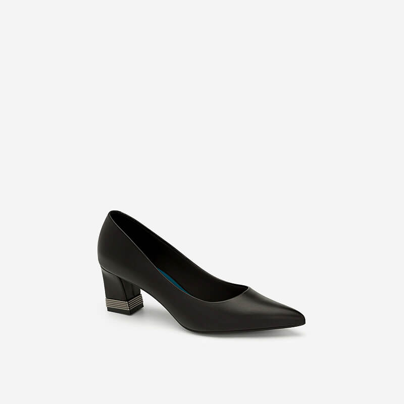 Giày Bít Mũi Nhọn Gót Vuông - BMN 0404 - Màu Đen