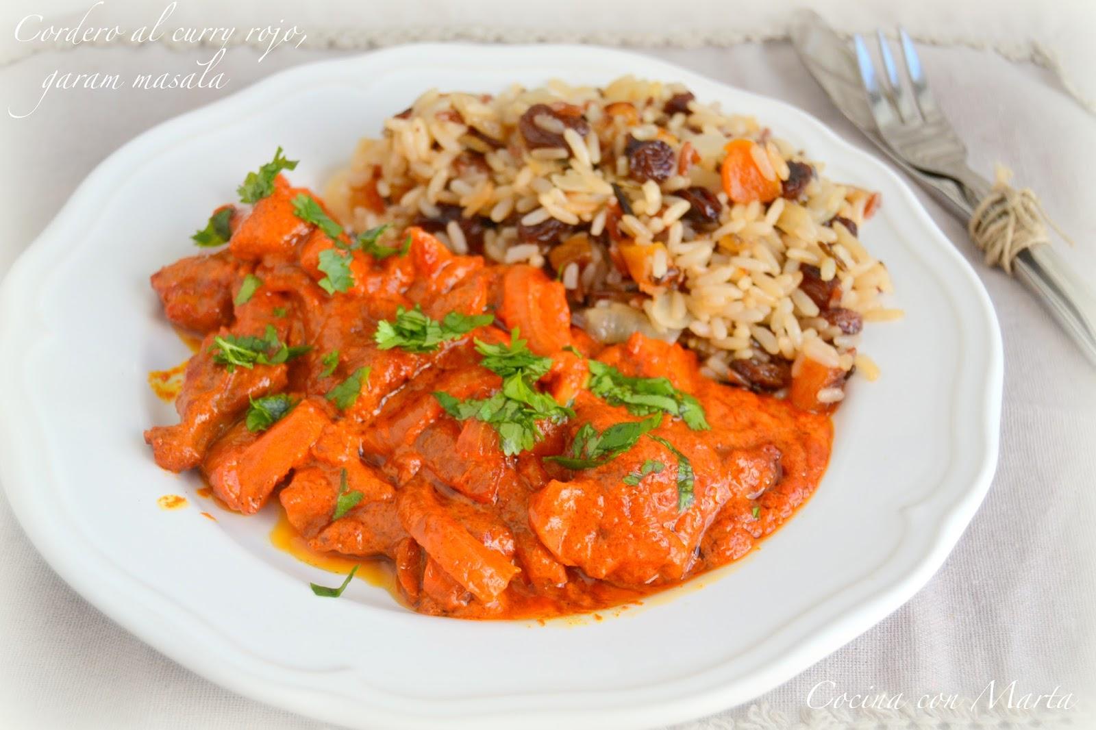 Cordero al curry rojo, garam masala