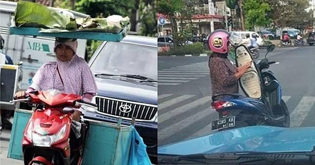 Aktivitas Nyeleneh Emak-emak Pas Lagi Bawa Motor, Serba Bisa