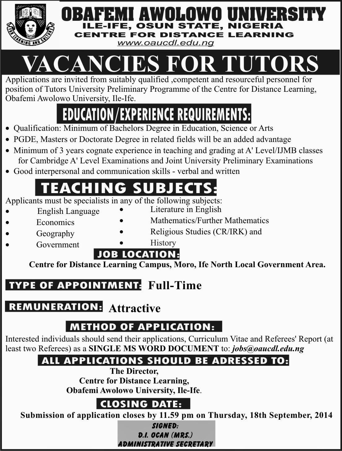 Vacancies For OAU Preliminary Programme Tutors - Jobs/Vacancies
