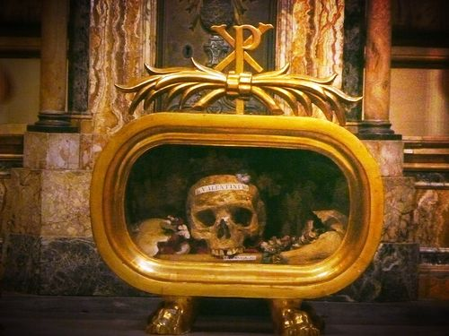 Saint Valentine relic, Basilica of Saint Mary in Cosmedin, Rome, Italy.