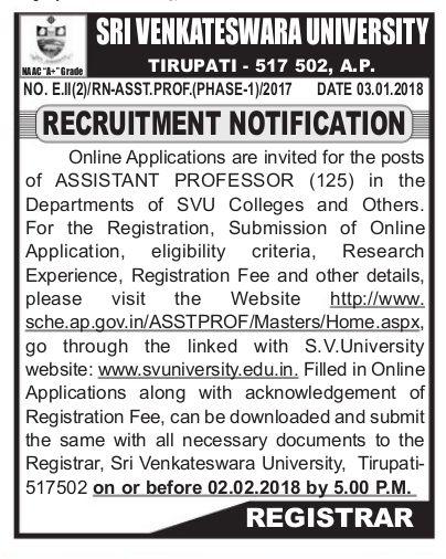 sri venkateswara university svu teaching,non teaching,profoessors posts recruitment 2017,svu application form,last date for applying of svu recruitment