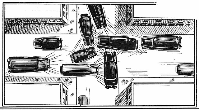 An illustration looking down at a 1939 traffic jam