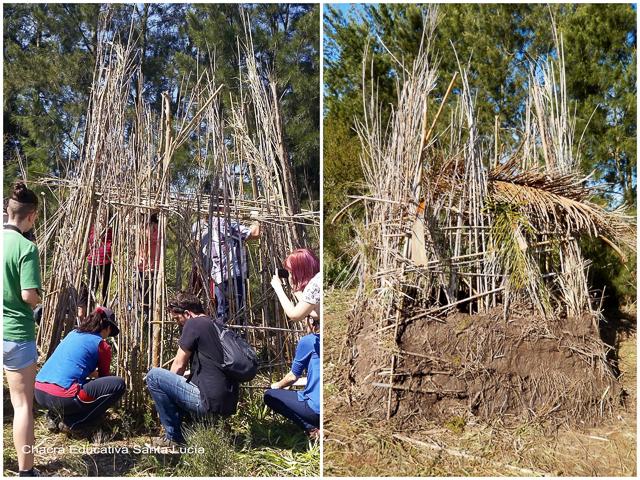 Niños y padres construyendo una vivienda guaraní - Chacra Educativa Santa Lucía