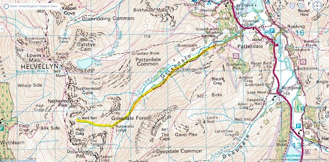 The map route to Hard Tarn, Wild Camping in the Lake District