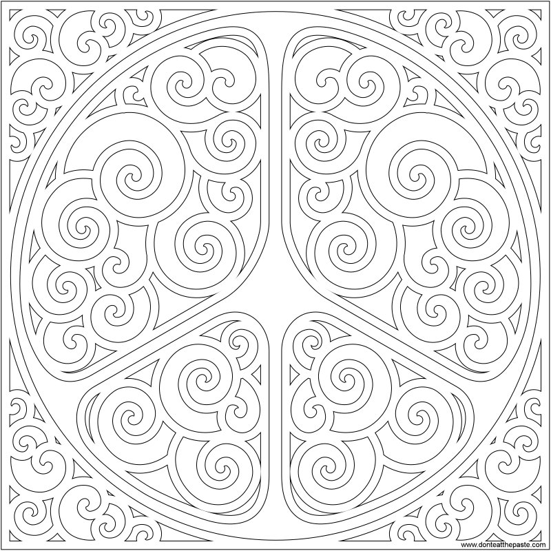 Swirly peace symbol for doodling or coloring- available in transparent png as well