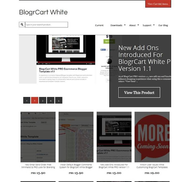 Blogr Cart Shoping Ecommerce Blogger Template