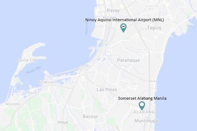 Location map of Somerset Alabang Manila courtesy of Google Maps