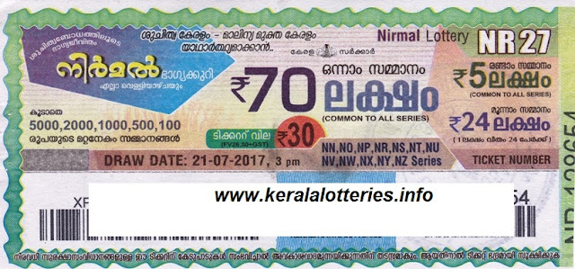 Nirmal Weekly lottery drawn on 20 july 2017