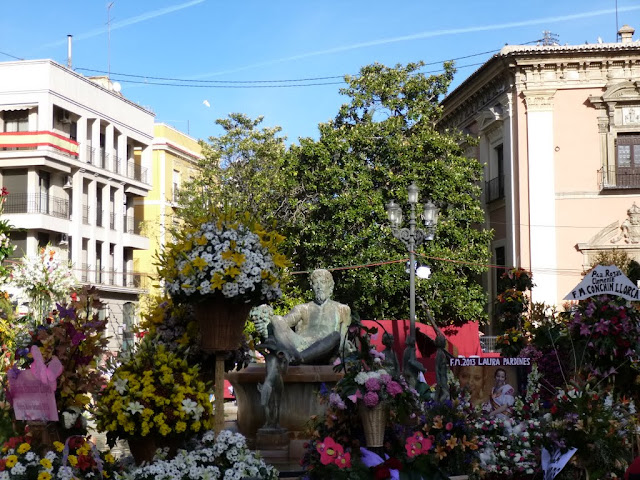 Flowers on Plaza de la Virgen in Valencia, Spain