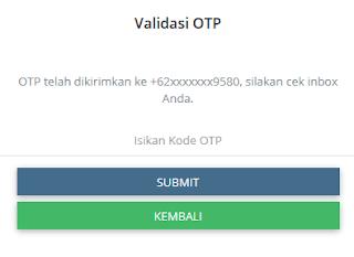 input kode OTP Login Webreport Kios Pulsa