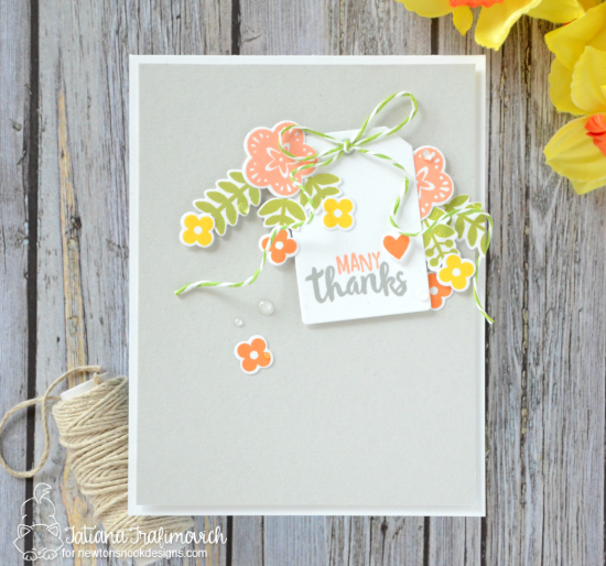 Spring Floral Thank You Card by Tatiana Trafimovich | Cottage Garden stamp set and die set by Newton's Nook Designs #newtonsnook