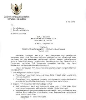 Surat Edaran Menteri Tenaga Kerja tentang Pembayaran THR 2018