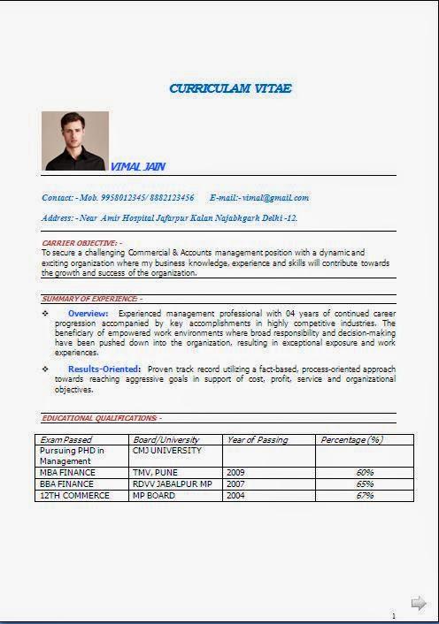 Resume Pursuing Mba