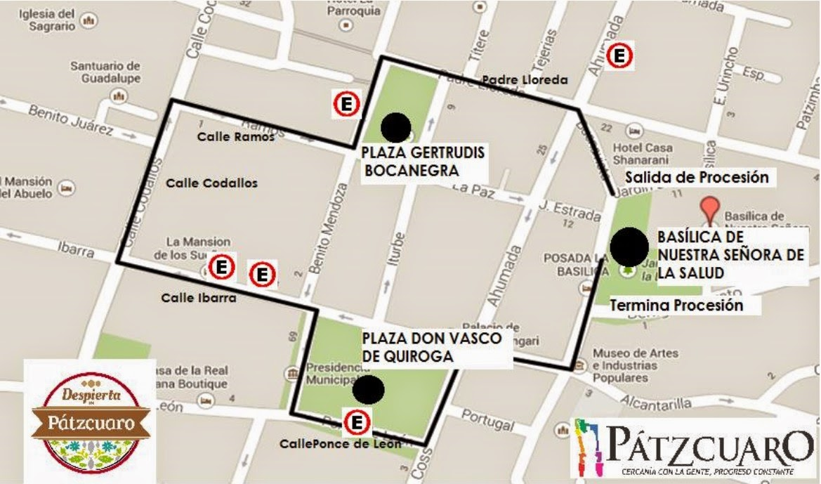 Map of the route of the Procession of the Christs in Patzcuaro