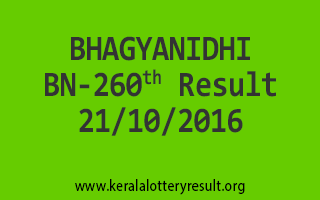 BHAGYANIDHI BN 260 Lottery Results 21-10-2016
