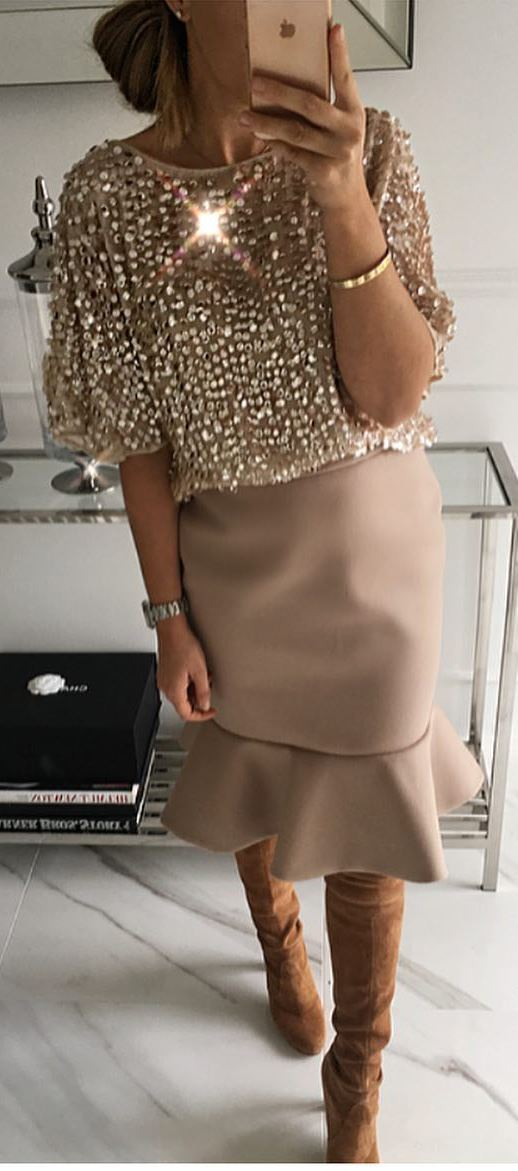 amazing outfit / glitter blouse + skirt + brown over the knee boots