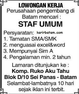 Lowongan Kerja Karyawan Staff Umum Batam