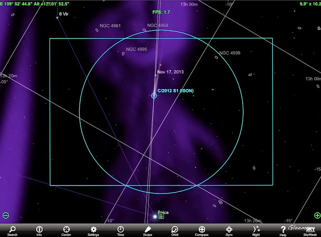 SkySafari+ 的彗星位置還算蠻準的。(ISON和Lovejoy皆是)