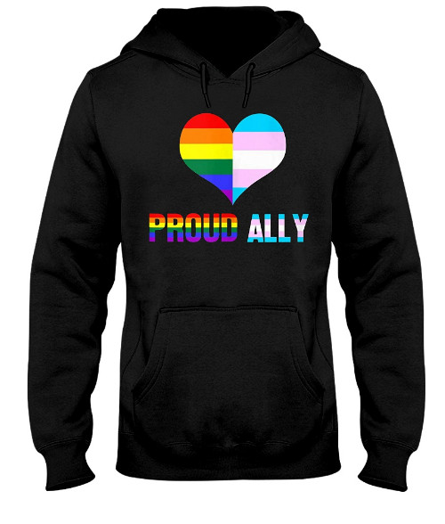Proud Ally LGBT Rainbow Heart Hoodie, Proud Ally LGBT Rainbow Heart Sweatshirt, Proud Ally LGBT Rainbow Heart Shirts