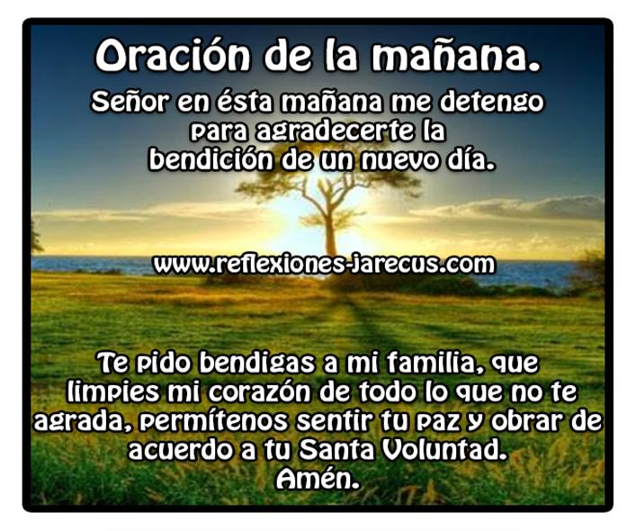 Oración de la mañana✅Señor en ésta mañana quiero agradecerte la bendición de un nuevo día. Te pido bendigas a mi familia, limpies mi corazón de todo lo que no te agrada
