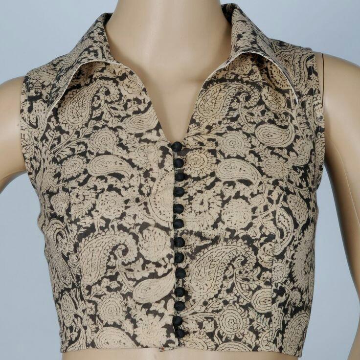 e37ef49de19e Go for sleeveless patterns for more casual look. Sleeveless shirt collar  neck design actally looks good ...