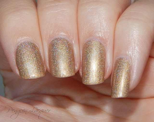 kiko holographic nail lacquer 002 golden champagne flashlight nah