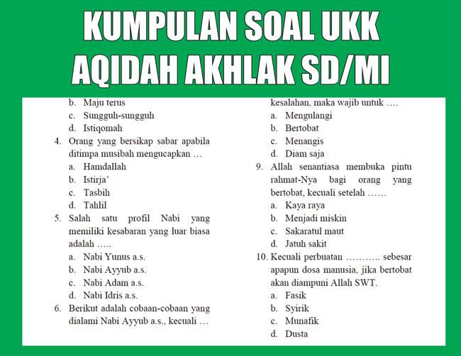 Kumpulan Soal UKK Aqidah Akhlak SD/MI Semester 2 (Genap) Lengkap