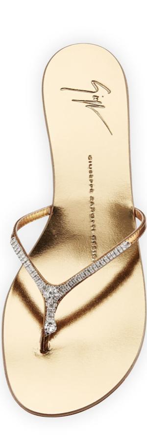 Giuseppe Zanotti  Metallic Crystal Flat Thong Slide Sandal