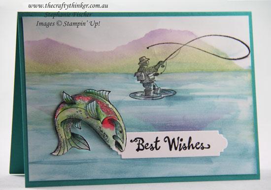 #thecraftythinker #stampinup #rubberstamping  #bestcatch #cardmaking #masculinecard #fishermancard #sponging , Best Catch, Masculine Card, Fisherman, Fish card, Sponged scenery, Stampin' Up Australia Demonstrator, Stephanie Fischer, Sydney NSW