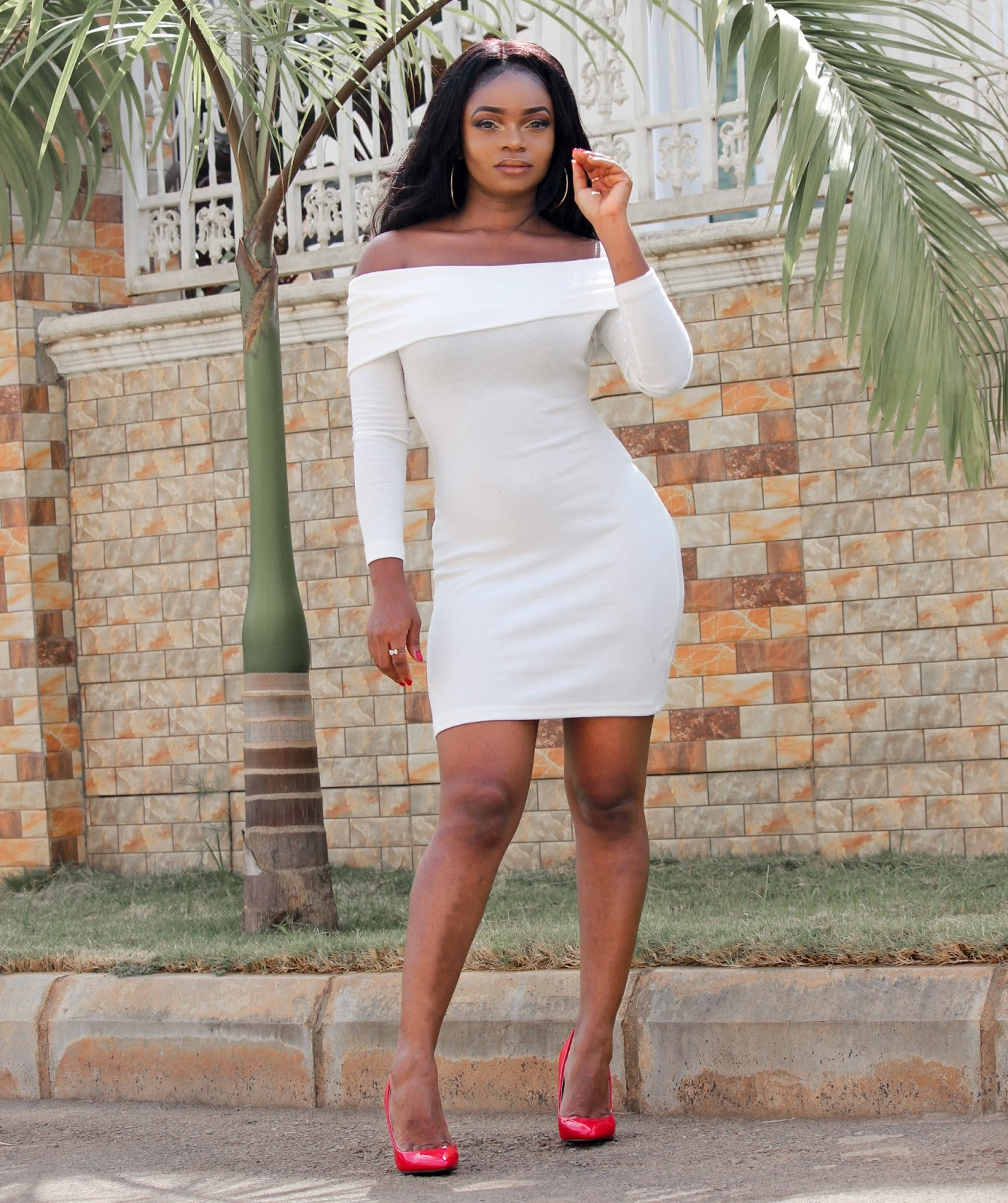 OFF SHOULDER BODYCON - White Off shoulder dress from Zaful