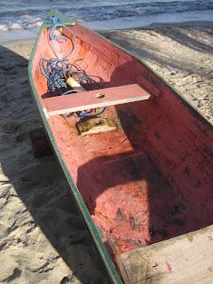 Belizean dugout canoe - mast step