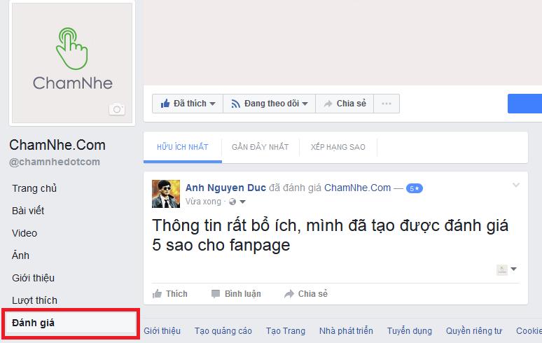Cách tạo đánh giá 5 sao trên Fanpage Facebook