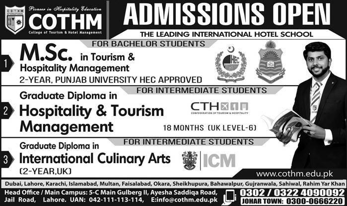 Admissions in College of Tourism and Hotel Management COTHM