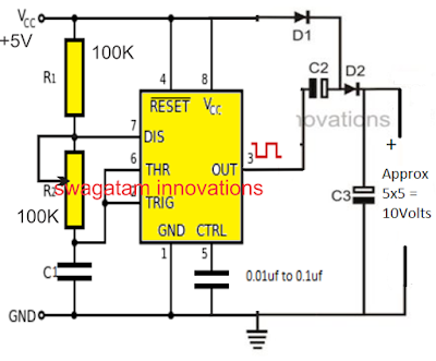 voltage doubler circuit using IC 555