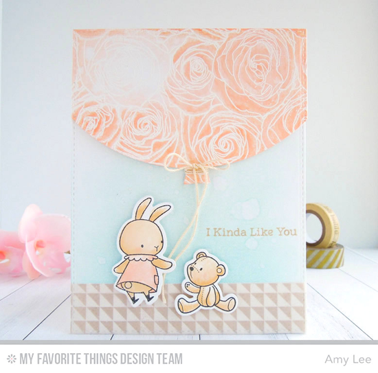 I Kinda Like You Card Amy Lee featuring the Snuggle Bunnies and Birdie Brown Somebunny  stamp sets and Die-namics, Roses All Over and Split Triangle Background stamps, and Blueprints 25 and Blueprints 26 Die-namics #mftstamps
