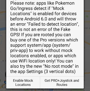 Enable mock location on GPS location spoofer