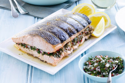 Baked salmon with salsa verde Recipe