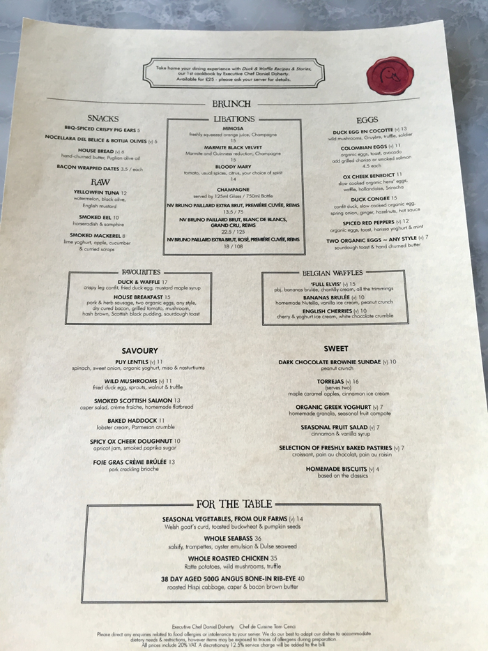 duck and waffle, bishopsgate, london, brunch, duck and waffle menu, menu