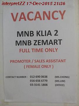Kerja kosong di MNB Zemart dan MNB KLIA2