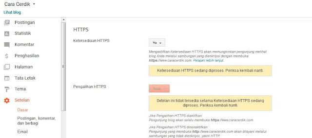 cara Mengubah http menjadi https blogger custom Domain TLD Gratis Langsung dari google