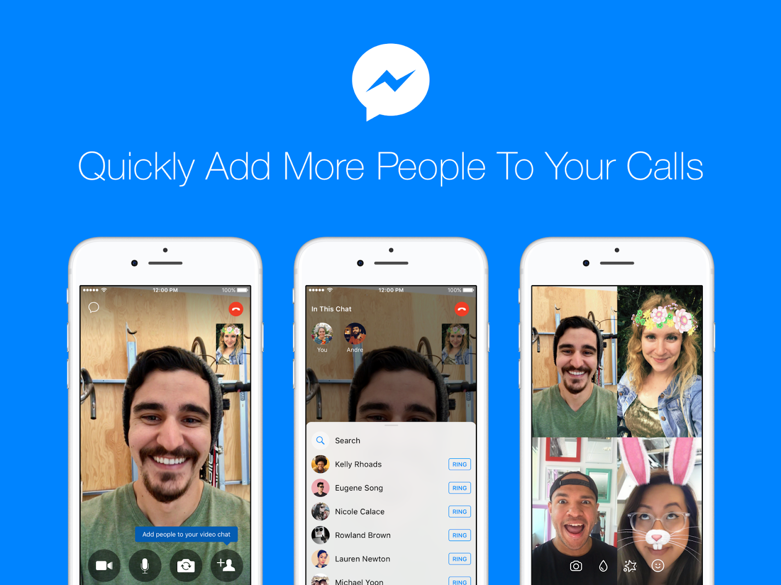 Add friends to video chat in Facebook Messenger