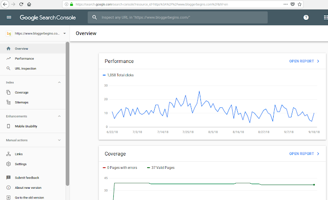 New Search Console View of Google Search Console